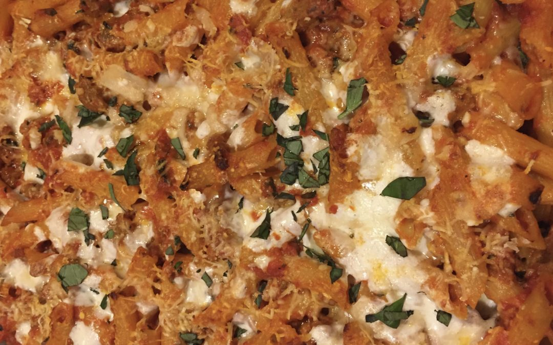 Easy Baked Ziti with Sausage and Mushrooms